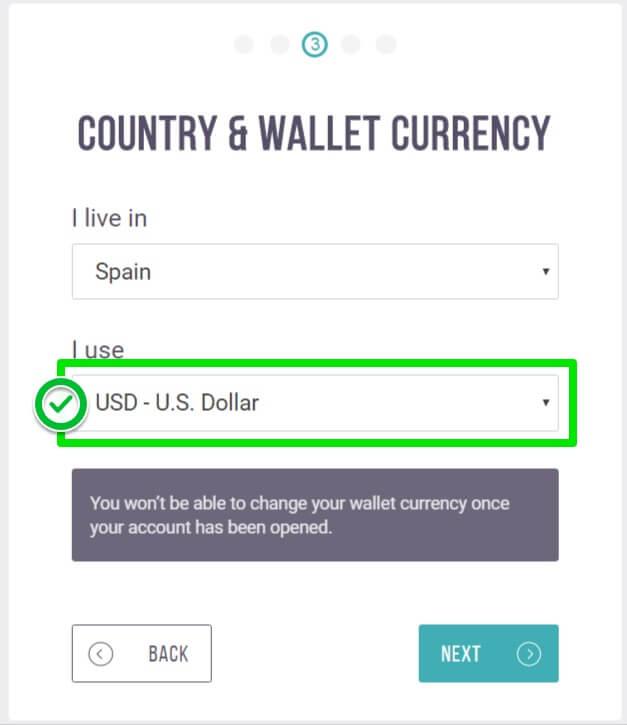 Seleccionar moneda al crear cuenta